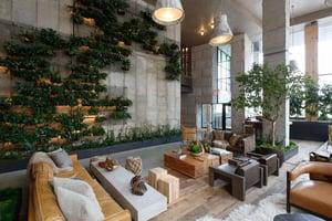 hotel lobby green wall